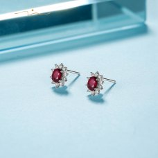 Borien Ruby Diamond Earring 18K White Gold