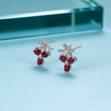 Feross Ruby Diamond Earring 18K White Gold