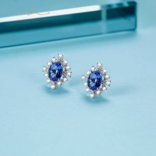 Gapkon Tazanite Diamond Earring 18K White Gold