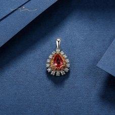 Le'quis Sapphire Diamond Pendant 18K White Gold