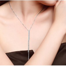 Yume Diamond Drop Necklace 18K White Gold