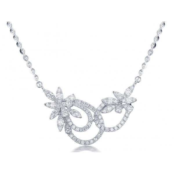 Leafy Diamond Necklace 18K White Gold