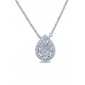 Binary Halo Diamond Necklace 18K White Gold