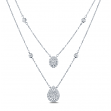 Binary Halo Diamond Necklace 18K White Gold