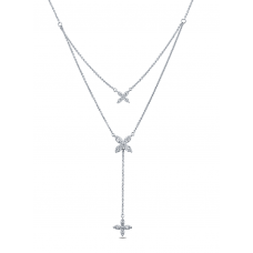 Star Drop Diamond Necklace 18K White Gold
