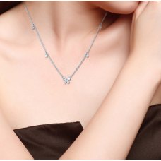 Mini Butterfly Diamond Necklace 18K White Gold