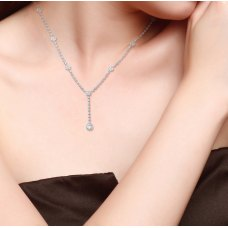 Halo Teardrop Diamond Necklace 18K White Gold