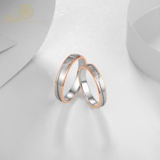Dueloy Diamond Wedding Ring 18K White and Rose Gold (Pair)