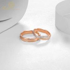 Torin Diamond Wedding Ring 18K White and Rose Gold (Pair)