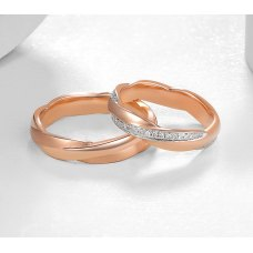 Torin Diamond Wedding Ring 18K White and Rose Gold(Pair)