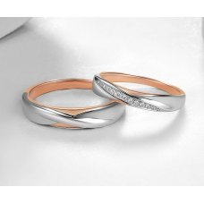 Chivan Diamond Wedding Ring 18K White and Rose Gold(Pair)