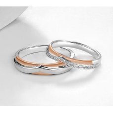 Tuli Diamond Wedding Ring 18K White and Rose Gold(Pair)