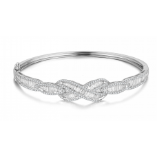 Curvilinear Diamond Bangle 18k White Gold
