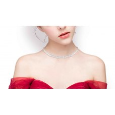 Lyonna Tapered Diamond Choker Necklace 18K White Gold