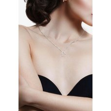 Lucia Channel Diamond Pendant 18K White Gold