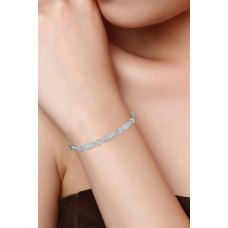 Courtly Cluster Diamond Bangle 18K White Gold