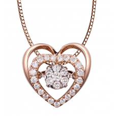 Twinkle Heart Diamond Pendant 18K Rose Gold