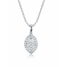 Ellipse Channel Diamond Pendant 18K White Gold