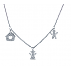 Pave Harmony Diamond Necklace 18K White Gold
