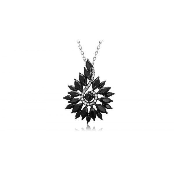 Zena Spinel Diamond Pendant 18K Black Gold