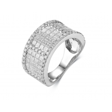 Tex Prong Diamond Ring 18K White Gold