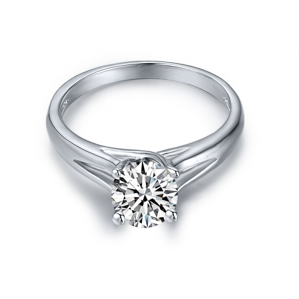 Zenelle Solitaire Engagement Ring Casing 18K White Gold