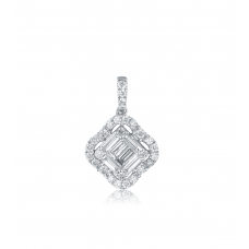 Carre Diamond Pendant 18K White Gold