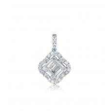 Carre Diamond Pendant 18K White Gold