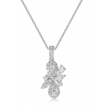Blomst Channel Diamond Pendant 18k White Gold