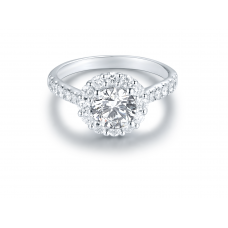 Hagen Trio Diamond Engagement Ring Casing 18K White Gold