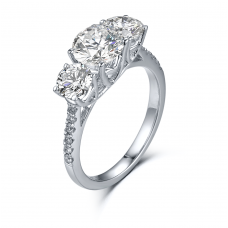 Triple 3 Diamond Engagement Ring Casing 18K White Gold