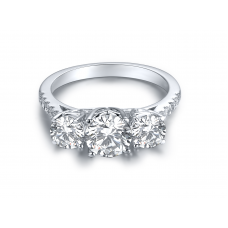 Triple 3 Diamond Engagement Ring Casing 18K White Gold