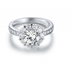 Baray Diamond Engagement Ring Casing 18K White Gold