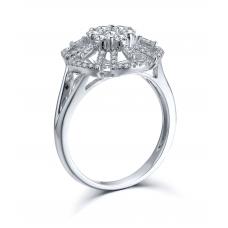 Bartail Prong Diamond Ring 18K White Gold
