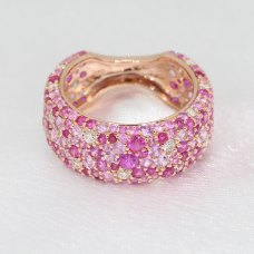 Romantico Ruby Pink Sapphire Diamond Ring 18K Rose Gold