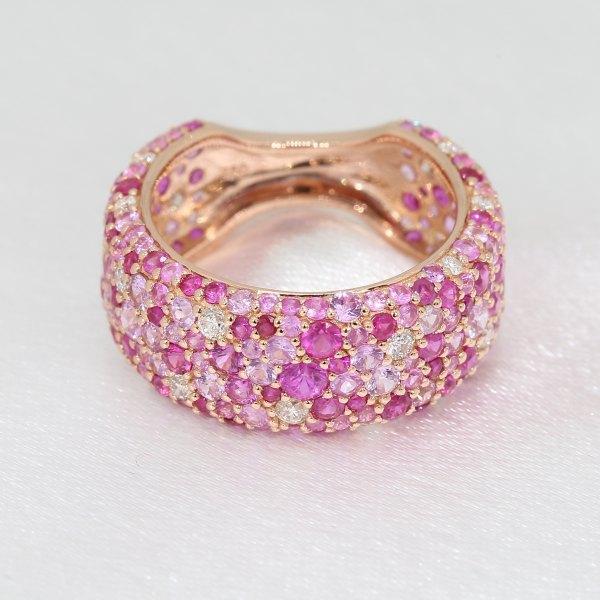 Romantico Ruby Pink Sapphire Diamond Ring 18K Rose Gold