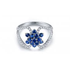 Haru Blue Sapphire Diamond Ring 18K White Gold