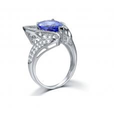 Clarion Tanzanite Diamond Ring 18K White Gold