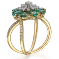 Krill Emerald Diamond Ring 18K Yellow Gold