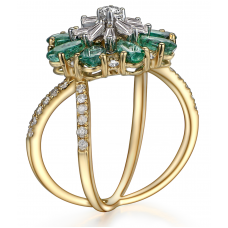 Krill Emerald Diamond Ring 18K Yellow Gold