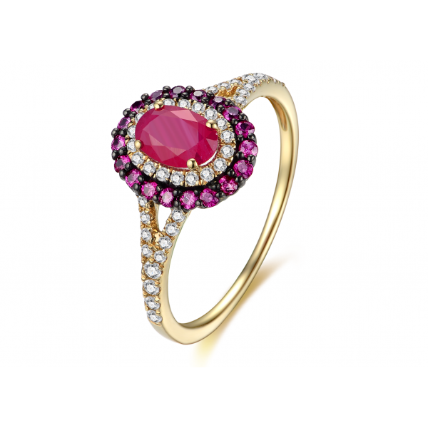 Alon Ruby Diamond Ring 18K Yellow Gold