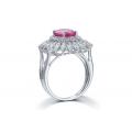 Anapos Ruby Diamond Ring 18K White Gold