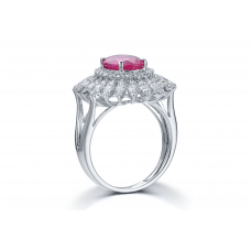 Anapos Ruby Diamond Ring 18K White Gold