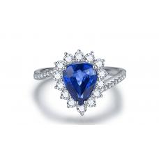 Fram Blue Sapphire Diamond Ring 18K White Gold