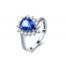 Fram Blue Sapphire Diamond Ring 18K White Gold