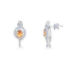 Tyra Orange Sapphire Diamond Earring 18K White Gold