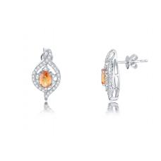 Tyra Orange Sapphire Diamond Earring 18K White Gold