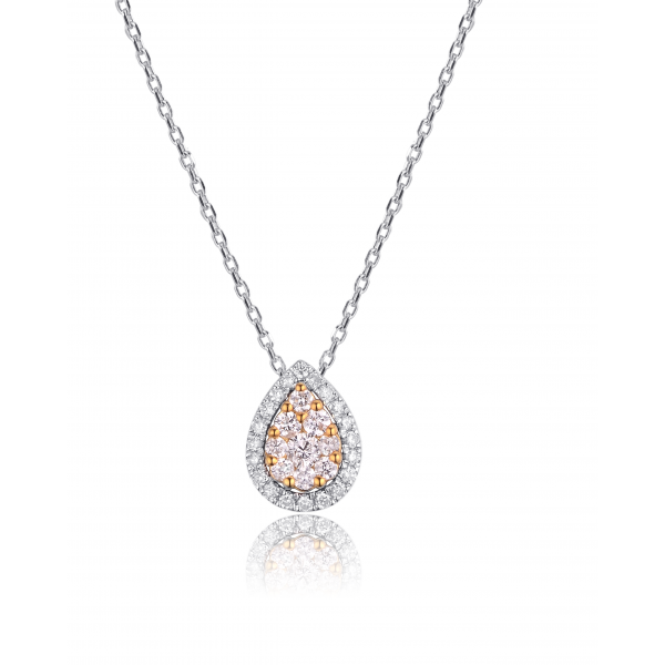 Tearly Halo Diamond Necklace 18K White Gold