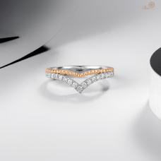 Bernadette Diamond Wedding Ring 18K White and Rose Gold