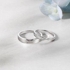 Quins Diamond Wedding Ring in 18K White Gold (Pair)